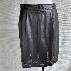 Elie Tahari M Leather Boho Pencil Skirt Brown